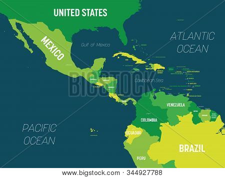 Central America Map - Green Hue Colored On Dark Background. High Detailed Political Map Central Amer
