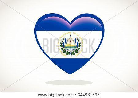 El Salvador Flag In Heart Shape. Heart 3d Flag Of El Salvador, El Salvador Flag Template Design.