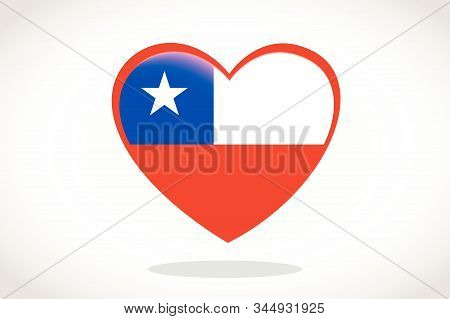 Chile Flag In Heart Shape. Heart 3d Flag Of Chile, Chile Flag Template Design.