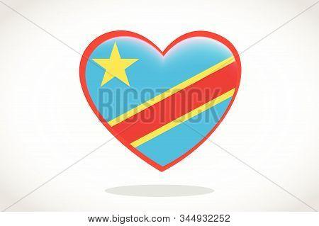 Congo Flag In Heart Shape. Heart 3d Flag Of Congo, Congo Flag Template Design.
