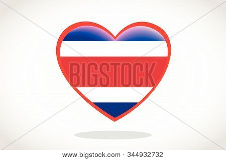 Costa Rica Flag In Heart Shape. Heart 3d Flag Of Costa Rica, Costa Rica Flag Template Design.