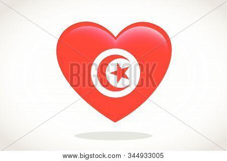Tunisia Flag In Heart Shape. Heart 3d Flag Of Tunisia, Tunisia Flag Template Design.
