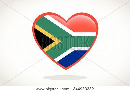 South Africa Flag In Heart Shape. Heart 3d Flag Of South Africa, South Africa Flag Template Design.