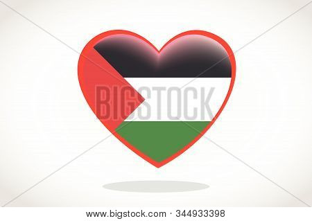 Palestine Flag In Heart Shape. Heart 3d Flag Of Palestine, Palestine Flag Template Design.