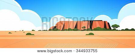 Rocky Mountain Australia Dry Grass Rocks And Trees Wild Nature Landscape Background Horizontal Vecto