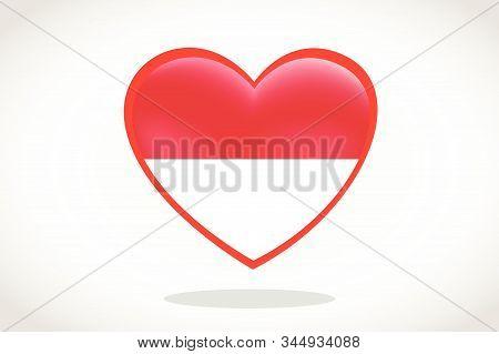 Indonesia Flag In Heart Shape. Heart 3d Flag Of Indonesia, Indonesia Flag Template Design