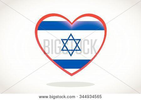 Israel Flag In Heart Shape. Heart 3d Flag Of Israel, Israel Flag Template Design