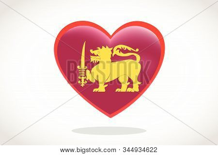 Sri Lanka Flag In Heart Shape. Heart 3d Flag Of Sri Lanka , Sri Lanka  Flag Template Design