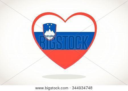Slovenia Flag In Heart Shape. Heart 3d Flag Of Slovenia, Slovenia Flag Template Design