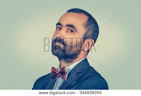 Closeup Portrait Of Mature Man With Beard In Side Profile Looking At You Camera Conceited, Vainglori