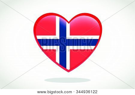 Norway Flag In Heart Shape. Heart 3d Flag Of Norway, Norway Flag Template Design