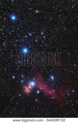 Orion's Belt In The Winter Sky, Stars Alnitak, Alnilam, Mintaka, Horsehead Nebula, Orion Nebula