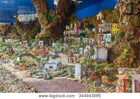 Candelaria, Tenerife, Spain - December 12, 2019: Christmas Belen -  Crib (creche), Nativity Scene, statuette of people and houses in miniature