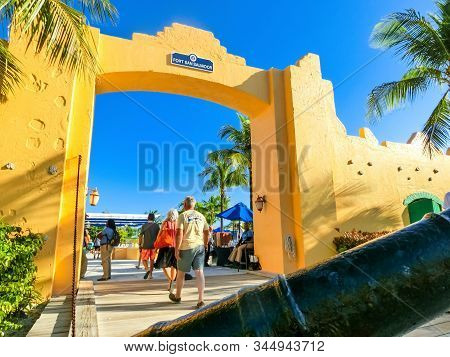Half Moon Cay, Bahamas - December 02, 2019: People At Fort San Salvador At Half Moon Cay, Little San