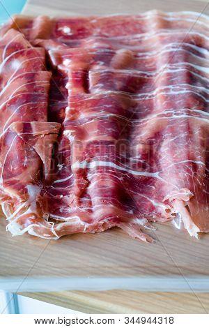 Italian Ham Prosciutto Crudo Or Jamon Sausage In Plastic Box Package / Container For Sale.