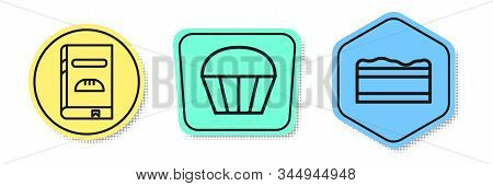 Set Line Cookbook , Muffin And Brownie Chocolate Cake . Colored Shapes. Vector