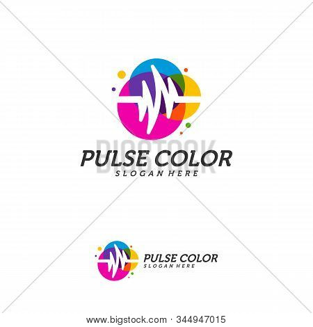 Colorful Pulse Logo Minimalist Vector, Colorful Pulse Icon Template, Creative Design