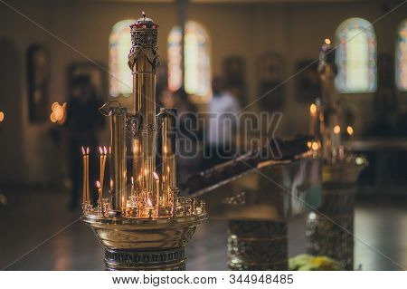 Church Ordinance Orthodox And Wedding, Church Wedding, Religious Of A Child In Church, Icons, Orthod