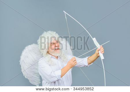 Love Concept. Valentine Angel. Handsome Male Angel Cupid. Bearded Man With Angel Wings. Valentines D