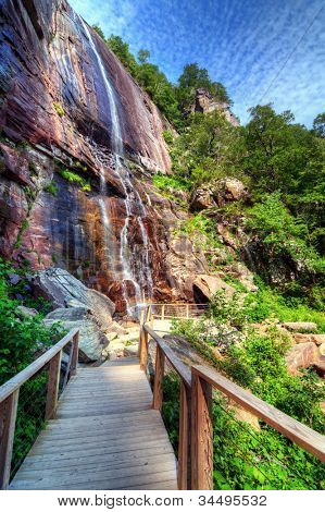 Hickory Nut Falls in Chimney Rock State Park, North Carolina.