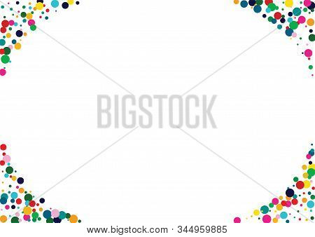 White Transparent Polka Texture. Color Carnaval Splash Card. Carnaval Texture. Fun Rainbow Design.