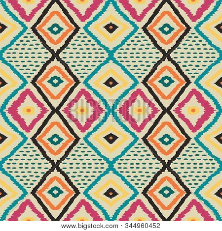 Cobalt Tie Dye Vector Seamless Pattern. American Handmade Tribal Background. Gloss Rustic Tile Wallp