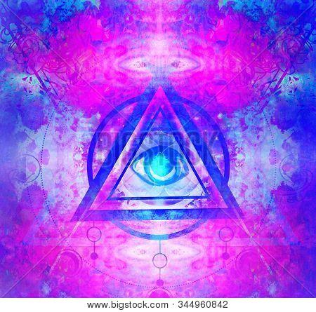 All Seeing Eye Inside Triangle Pyramid , Raster