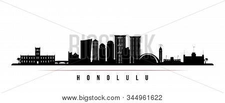 Honolulu Skyline Horizontal Banner. Black And White Silhouette Of Honolulu, Hawaii. Vector Template