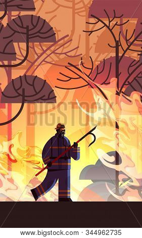 Brave Firefighter Holding Scrap Extinguishing Dangerous Wildfire Fireman Fighting With Bush Fire Fir