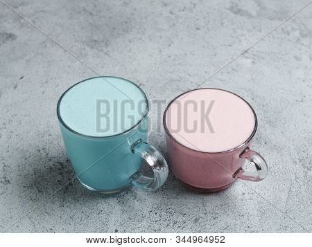 Trendy Drink: Blue And Pink Latte. Hot Butterfly Pea Latte Or Blue Spirulina Latte And Pink Beetroot