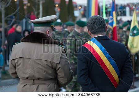 Army Officer With The Mayor Of The Town Sinaia Mayor At The Parade Of The National Day Of Romania. C