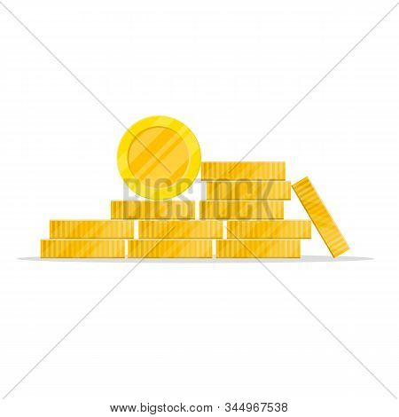 Stack Of Coins In A Flat Style.golden Pile Of Penny Money, Pile Of Treasures, Stock Vector Isolated