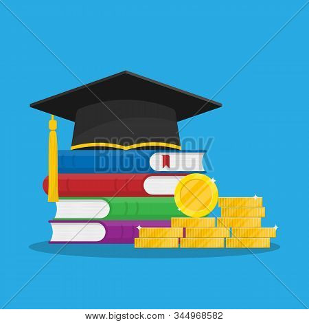 Student Loan For Persecution. Scholarship Concept. Graduation Hat Or Cap And A Stack Of Book. Stock