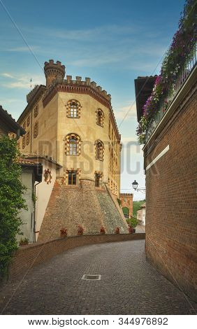Barolo Old Town Typical Street And Exterior Of The Castle, Langhe Piedmont, Italy Europe. Piedmont,