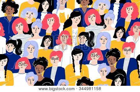 Crowd Of Women Seamless Pattern. Different Young Females In Yellow And Blue Clothes With Bright Colo