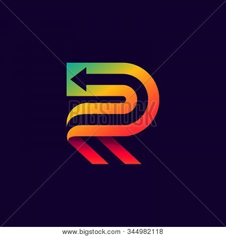 Letter R Logo With Arrow Inside. Vector Bright Colours Typeface For Delivery Labels, Business Headli