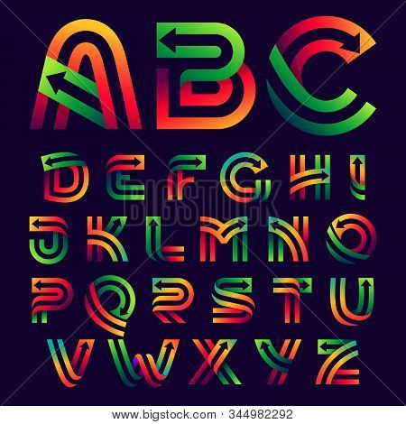 Alphabet Letters With Arrows Inside. Vector Bright Colours Typeface For Delivery Labels, Business He