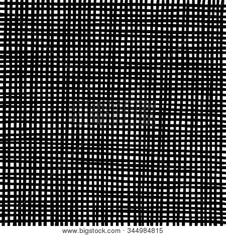 Hand Drawn Grid Texture. Thick Black Lines On White Background. Sketch Texture For Graphic Design