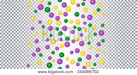 Seamless Pattern Yellow, Green, Purple Beads On Transparent Background. Mardi Gras Party. Venetian C