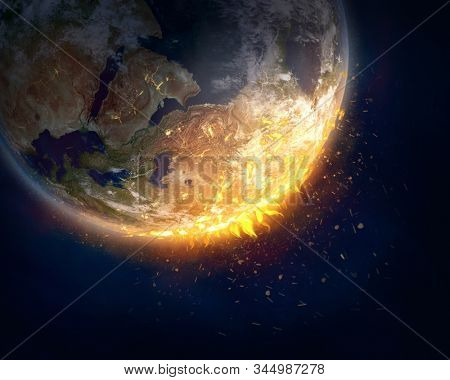 Burning Earth, global warming concept. This image elements furnished by NASA