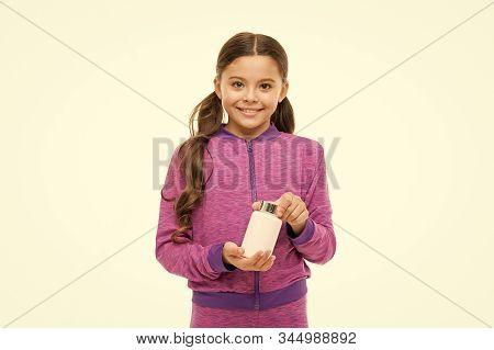 Food Supplement. Health Care. Take Vitamin Supplements. Girl Hold Medicines Bottle. Vitamin Concept.