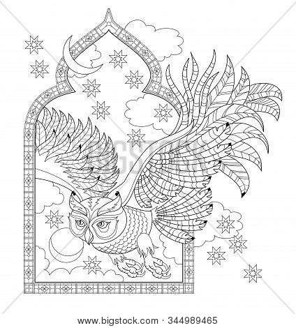Illustration Of Owl Flying From Fairytale Window. Black And White Page For Kids Coloring Book. Patte
