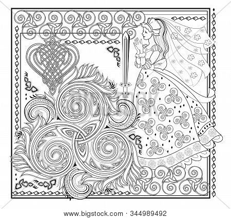 Fantasy Drawing Of Beautiful Celtic Fairy And Medieval Decoration. Black And White Page For Coloring