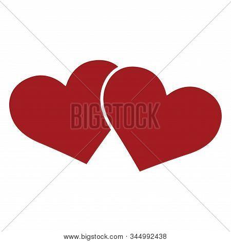 Two Red Hearts. Valentine Day - Vector Illustrtion Design