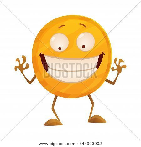 Smirk Coin. Icon For The Game Apps Interface. Cartoon Image Of Funny Golden Coin With Arms And Legs,