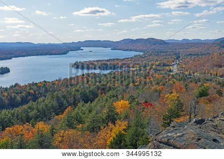 Fall Colors In The Lake Country In Late Afternoon In Adirondack State Park In New York