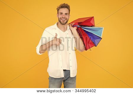 Best Price. Cyber Monday. Total Sale. Positive Man Enjoying Shopping. Happy Man With Shopping Bags.