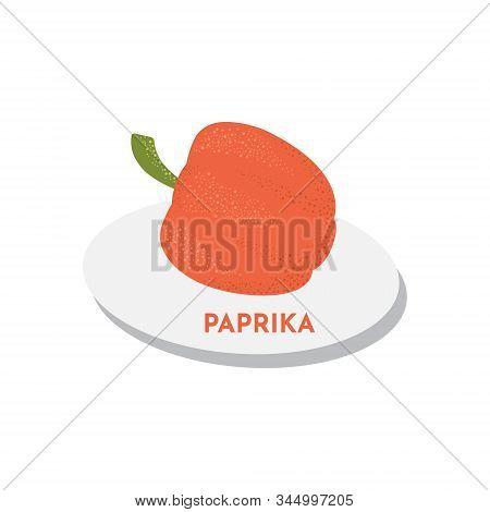 Sweet Raw Paprika Vegetable Vector Illustration. Textured Pepper On Plate Vegan Concept For Food Des