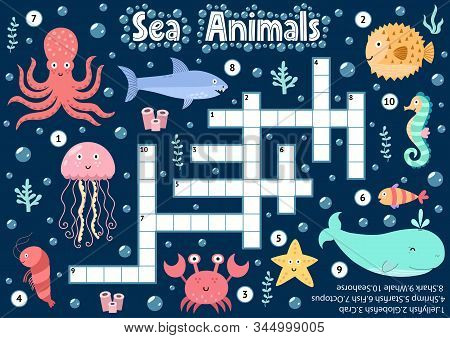 Crossword Puzzle Game Of Sea Animals For Kids. Underwater Logical Activity Sheet