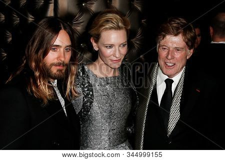 NEW YORK-JAN 6: Actors Jared Leto (L),  Cate Blanchett and Robert Redford (R) attend the New York Film Critics Circle Awards at the Edison Ballroom on January 6, 2014 in New York City.